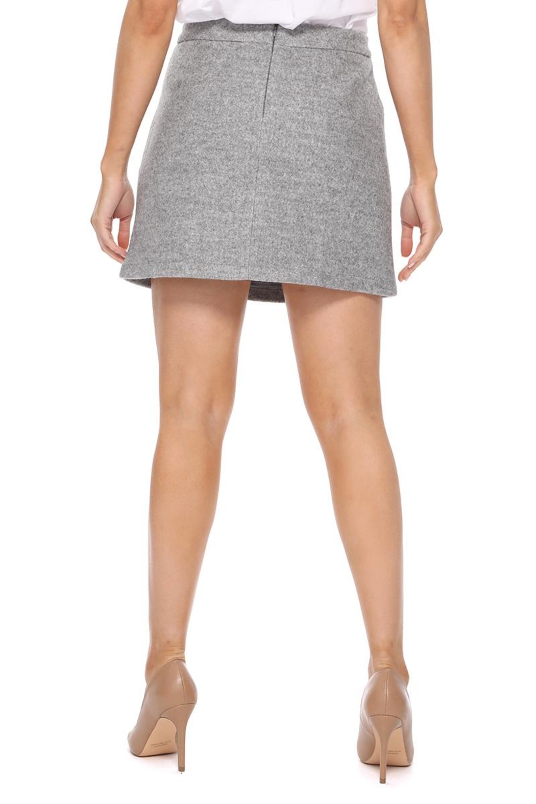 Aryeh Gray Wool Mini Skirt - Back Cropped Image