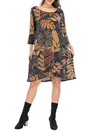 Aryeh Grey Floral Swing Dress - Product Mini Image