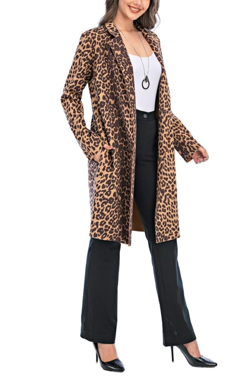 Aryeh Leopard Open Front Coat - Front Full Image
