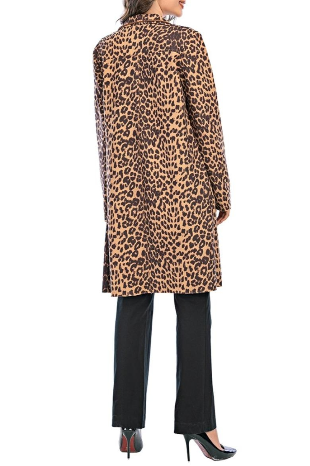 Aryeh Leopard Open Front Coat - Side Cropped Image