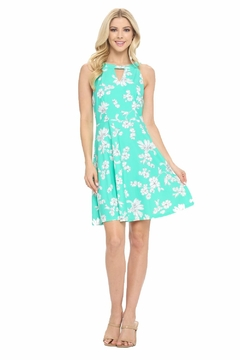 Aryeh Mint Keyhole Fit And Flare Dress - Product List Image
