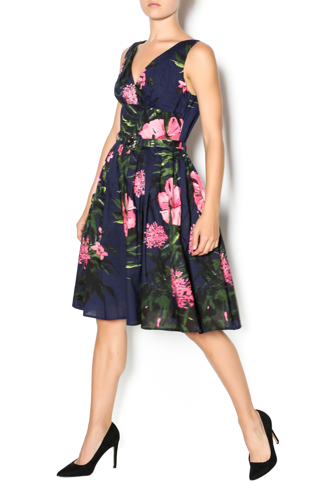 Aryeh Navy And Pink Floral Dress - Main Image