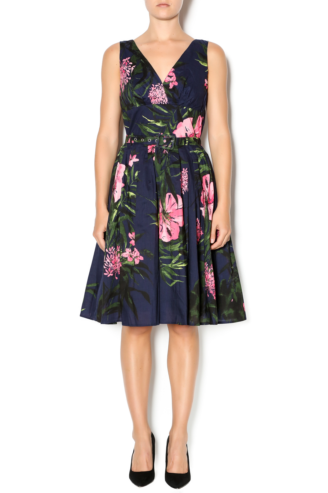 Aryeh Navy And Pink Floral Dress - Front Cropped Image