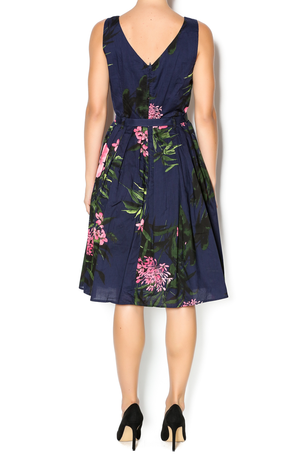 Aryeh Navy And Pink Floral Dress - Back Cropped Image