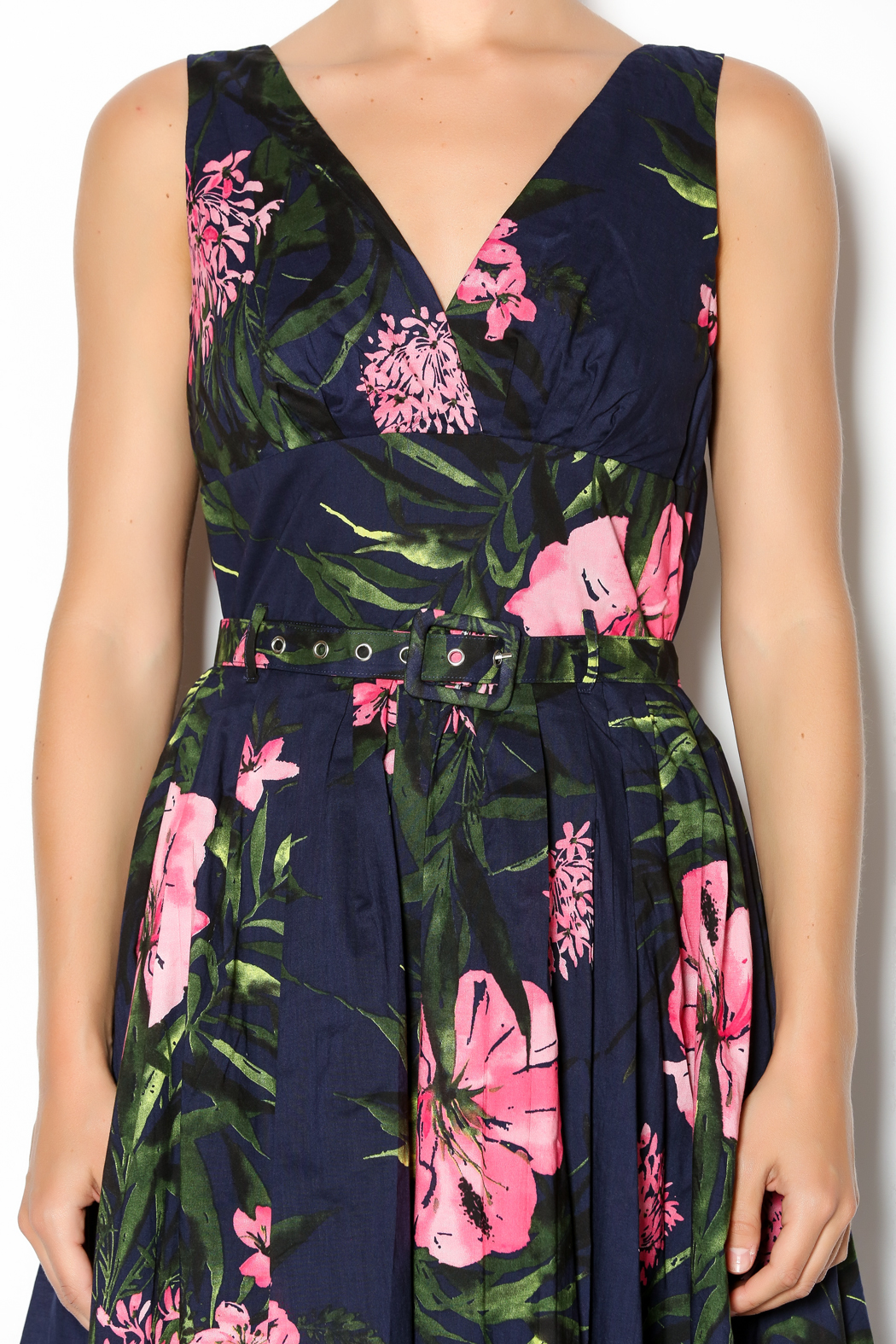Aryeh Navy And Pink Floral Dress - Side Cropped Image
