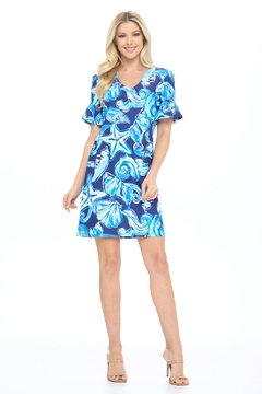 Aryeh Navy And Sky Ruffle Sleeve Dress - Product List Image