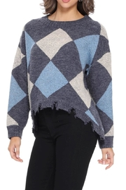 Aryeh Navy Distressed Knit Pullover - Product Mini Image