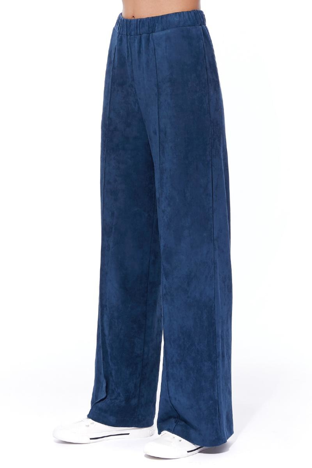 Aryeh Navy Faux Suede Pants - Side Cropped Image