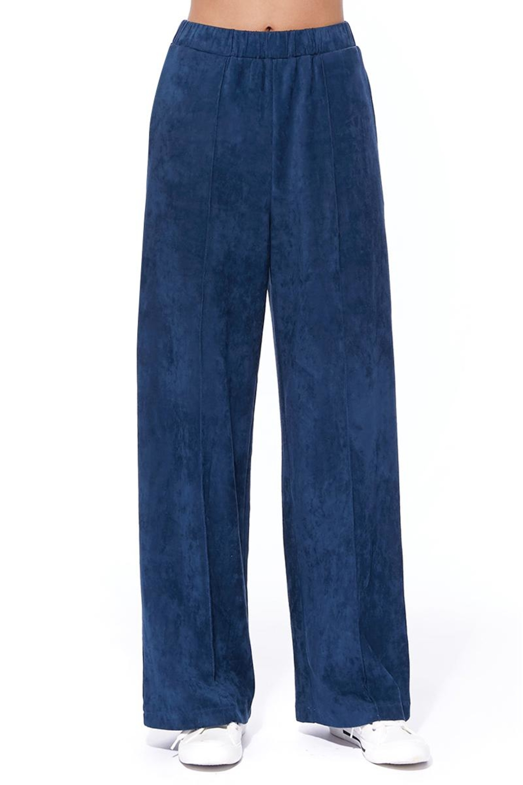 Aryeh Navy Faux Suede Pants - Main Image