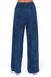 Aryeh Navy Faux Suede Pants - Back cropped