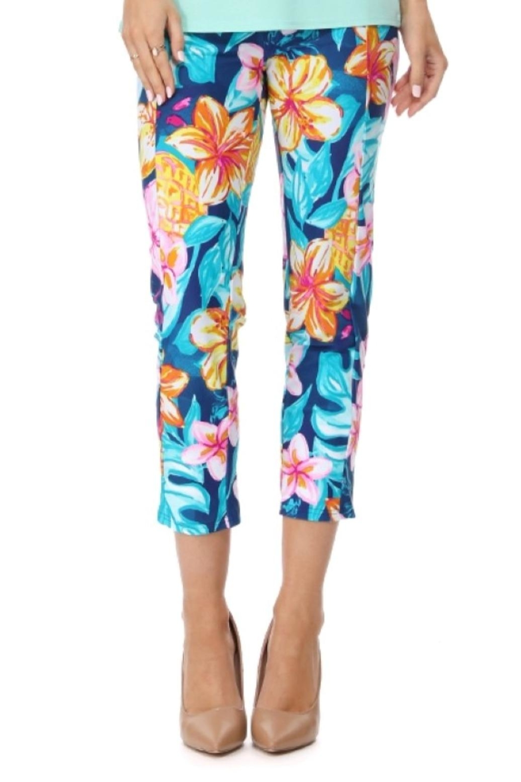 Aryeh Navy Floral Cropped Legging - Main Image