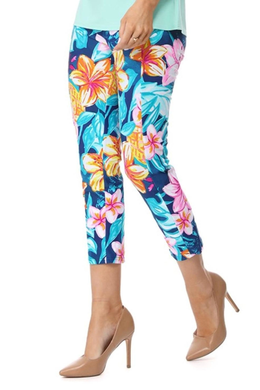Aryeh Navy Floral Cropped Legging - Front Full Image