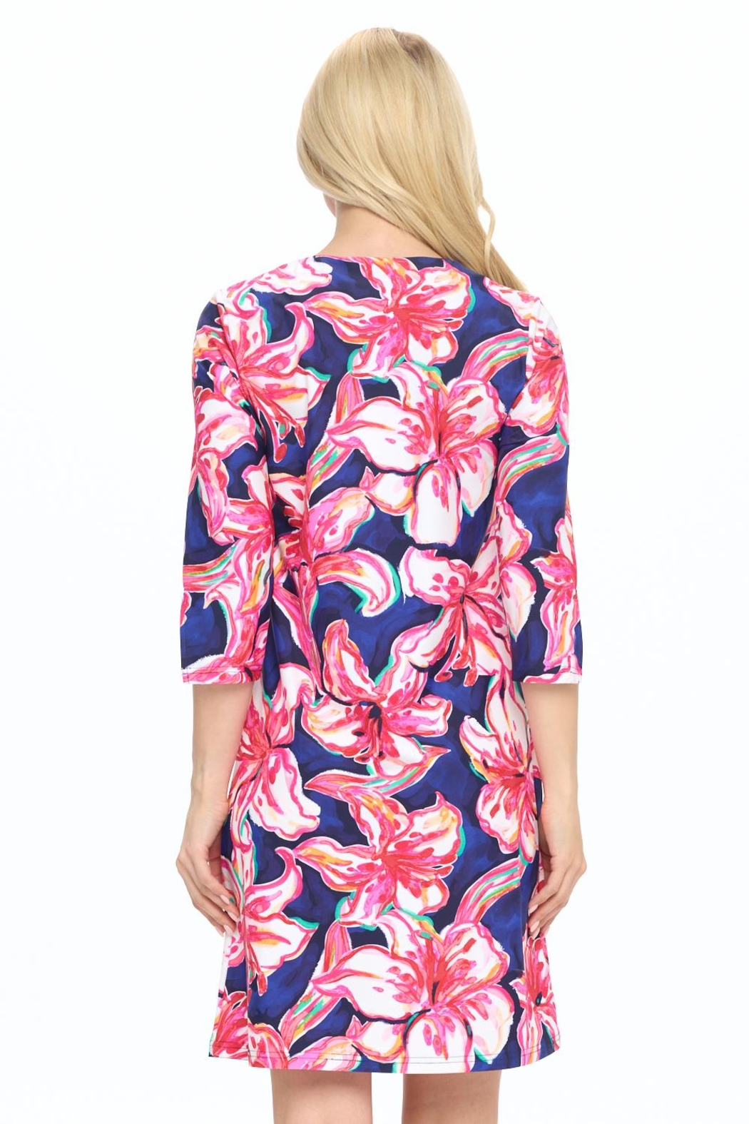 Aryeh Navy Floral Shift Dress - Back Cropped Image