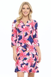 Aryeh Navy Floral Shift Dress - Front full body