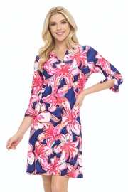 Aryeh Navy Floral Shift Dress - Side cropped