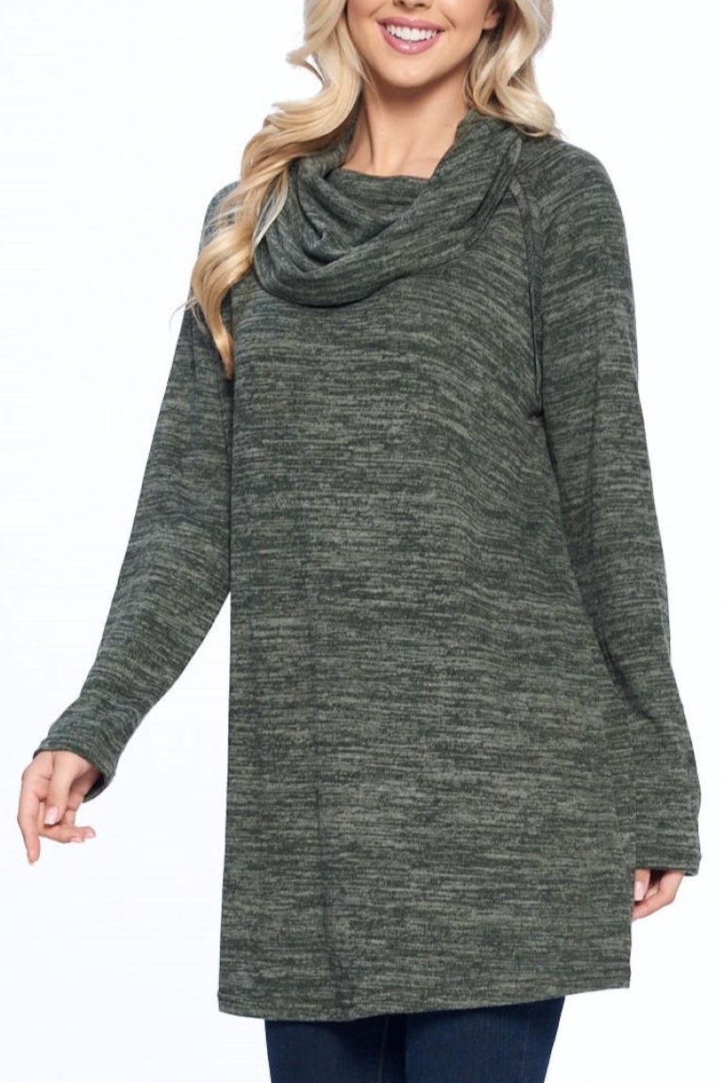 Aryeh Olive Cowl Neck Tunic - Side Cropped Image