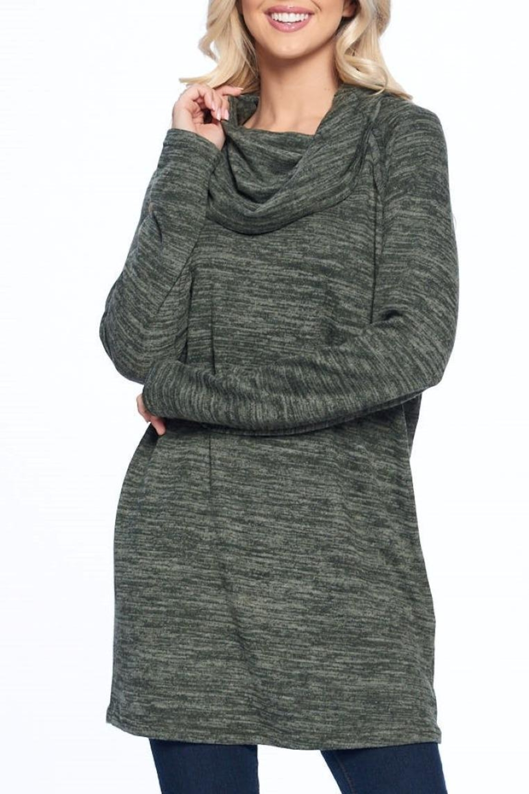 Aryeh Olive Cowl Neck Tunic - Front Full Image