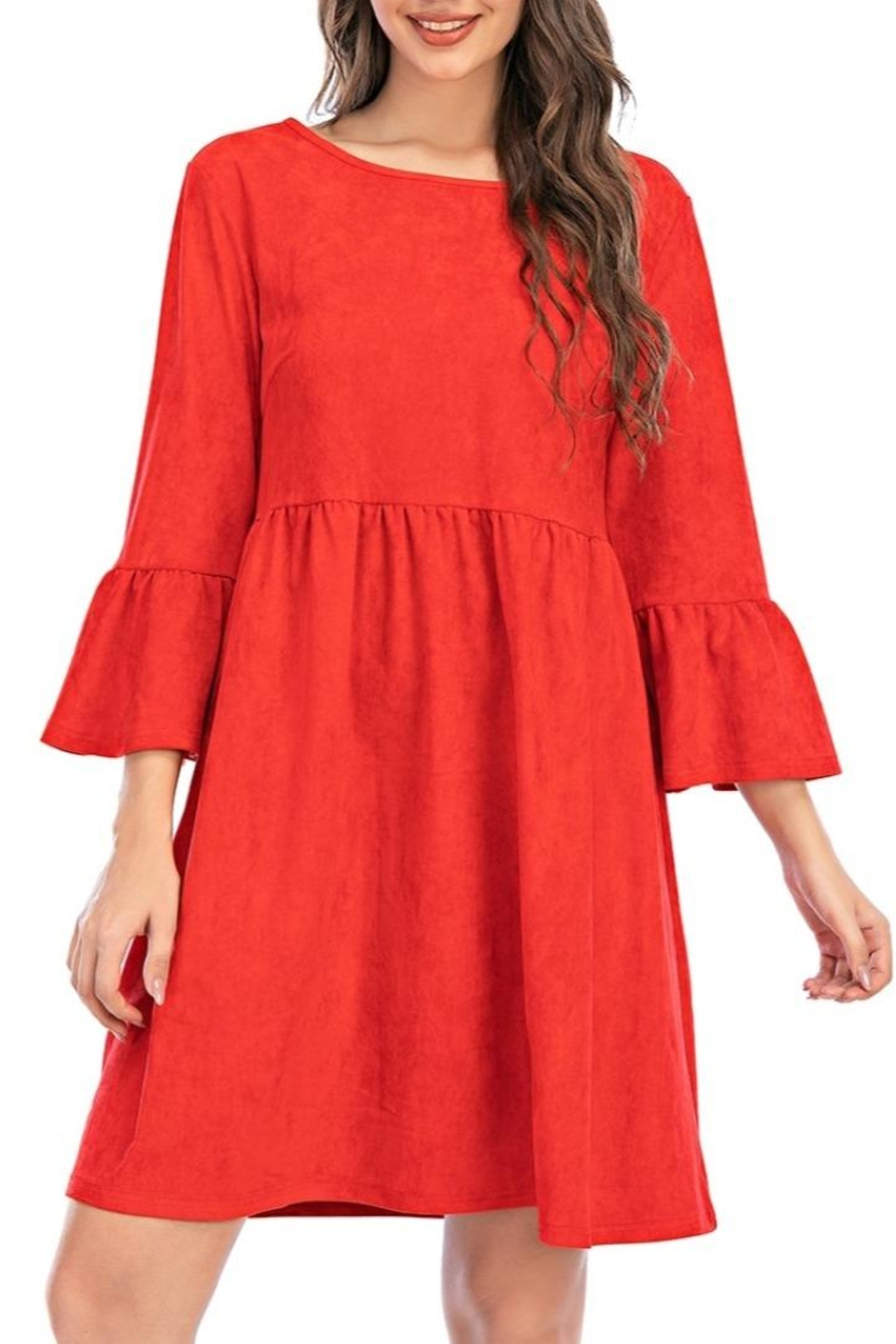 Aryeh Red Bell Sleeve Dress - Front Full Image
