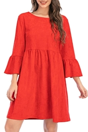 Aryeh Red Bell Sleeve Dress - Front full body