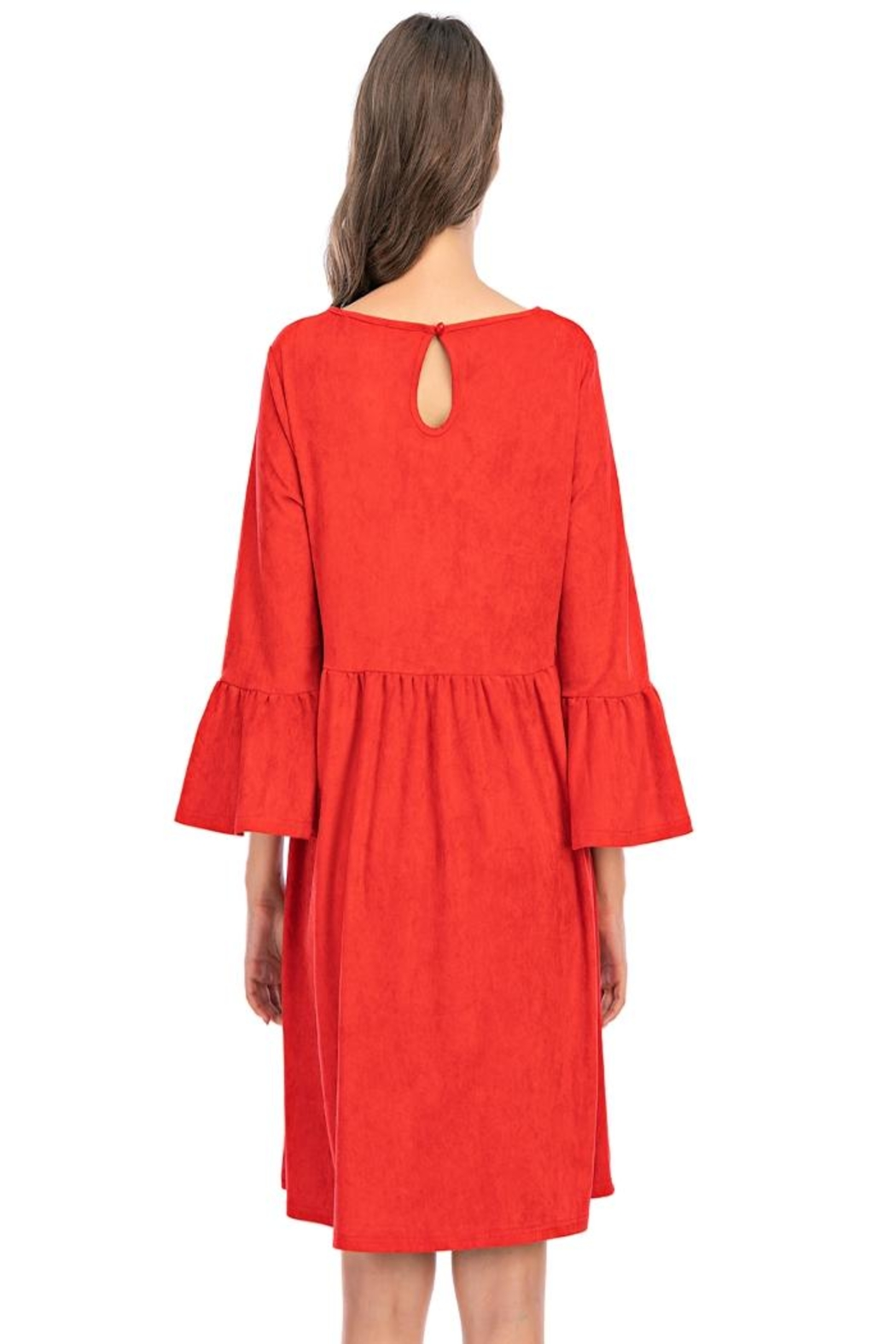 Aryeh Red Bell Sleeve Dress - Back Cropped Image