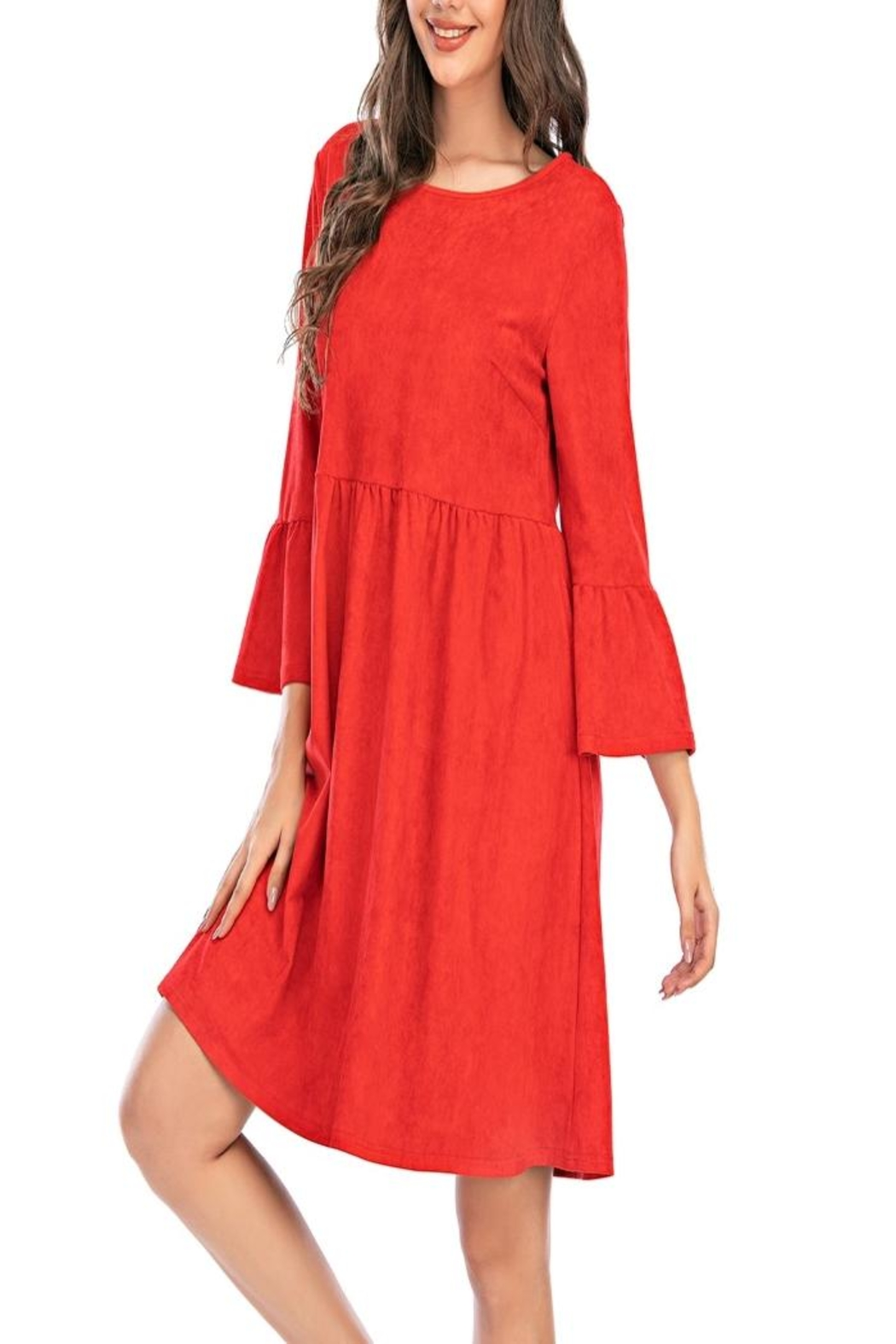 Aryeh Red Bell Sleeve Dress - Side Cropped Image