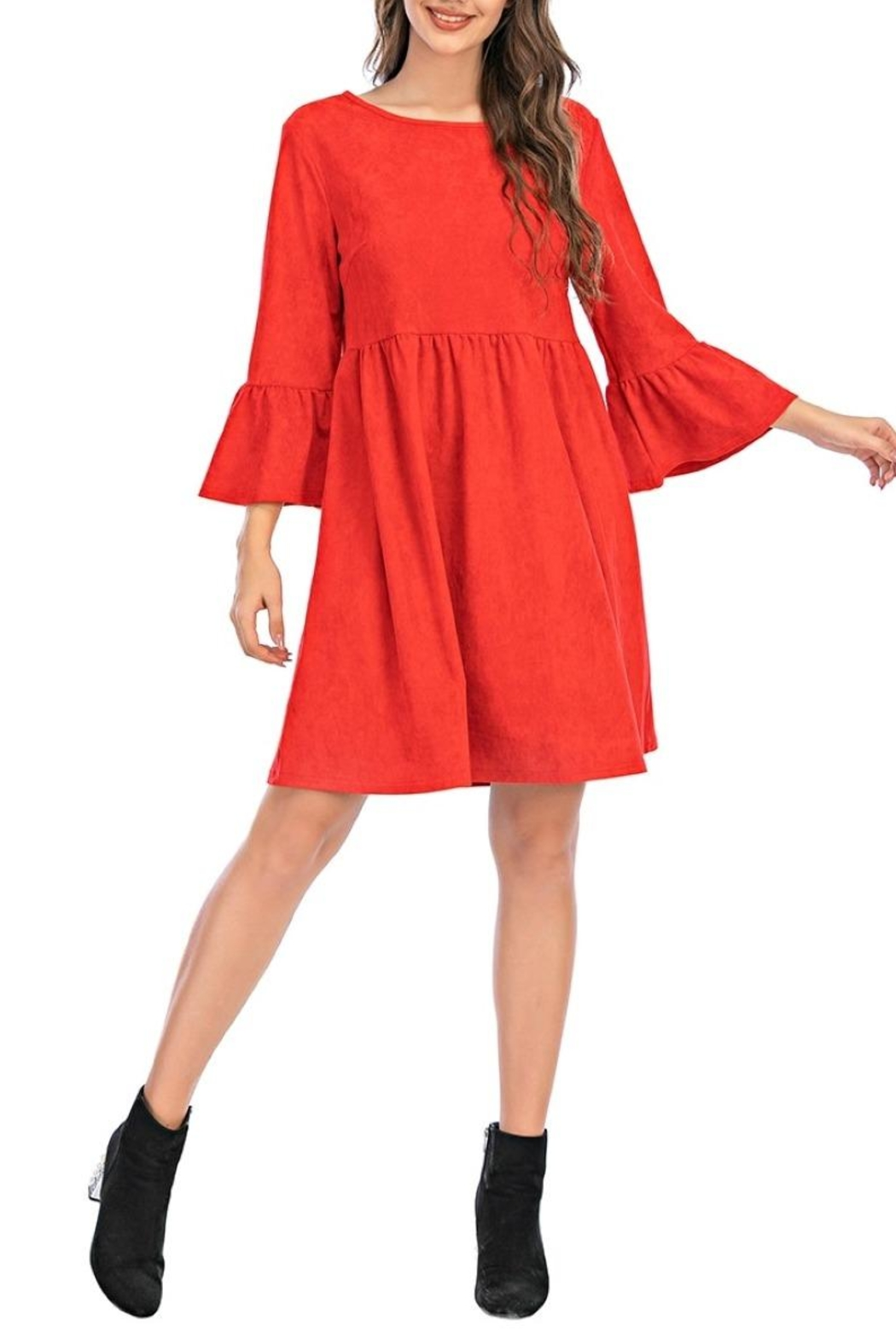 Aryeh Red Bell Sleeve Dress - Main Image