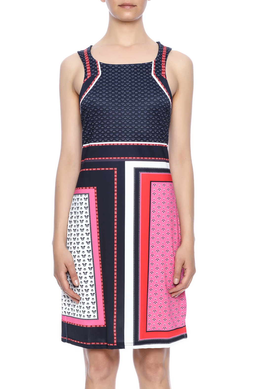 Aryeh Red Shift Dress - Side Cropped Image