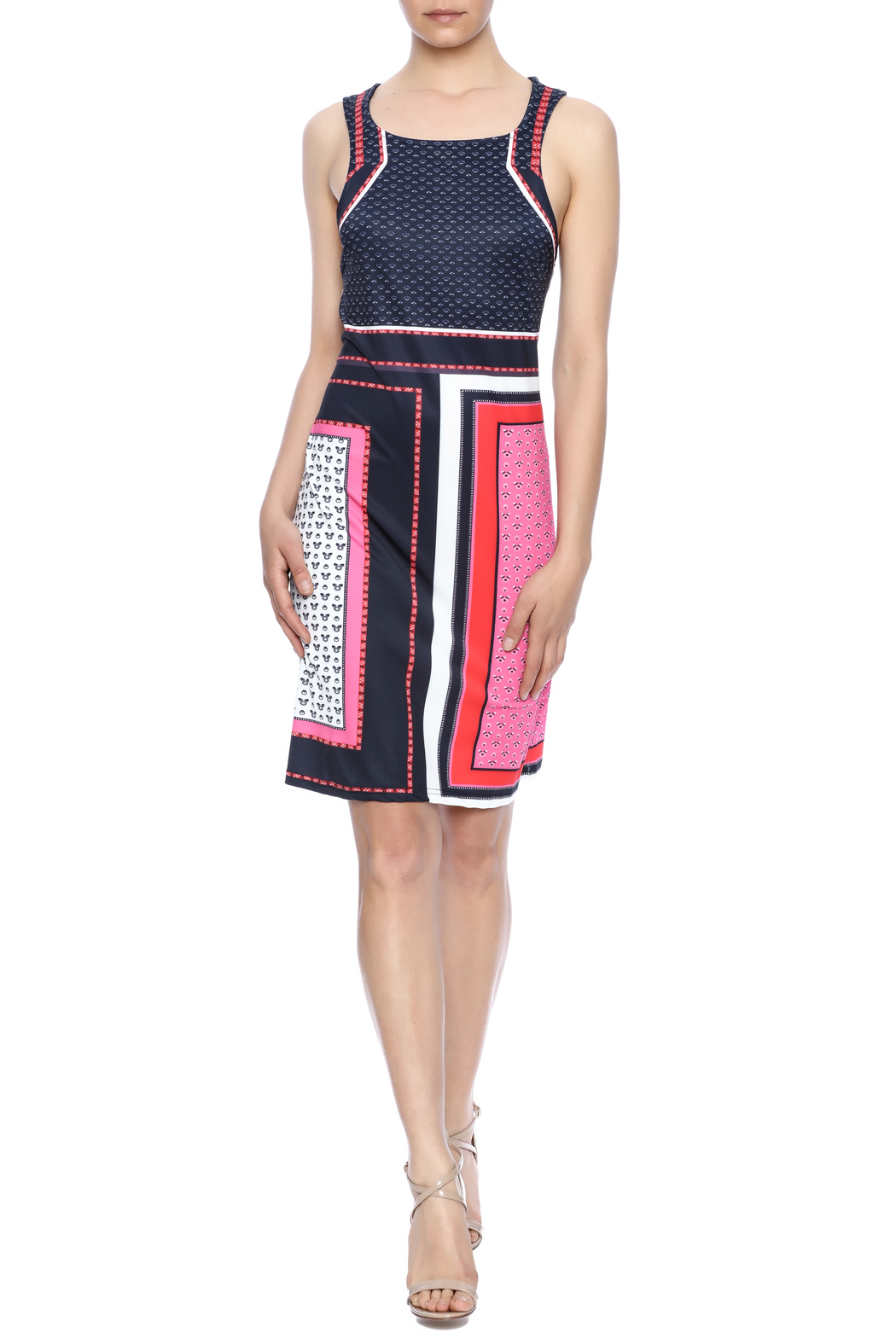 Aryeh Red Shift Dress - Front Full Image