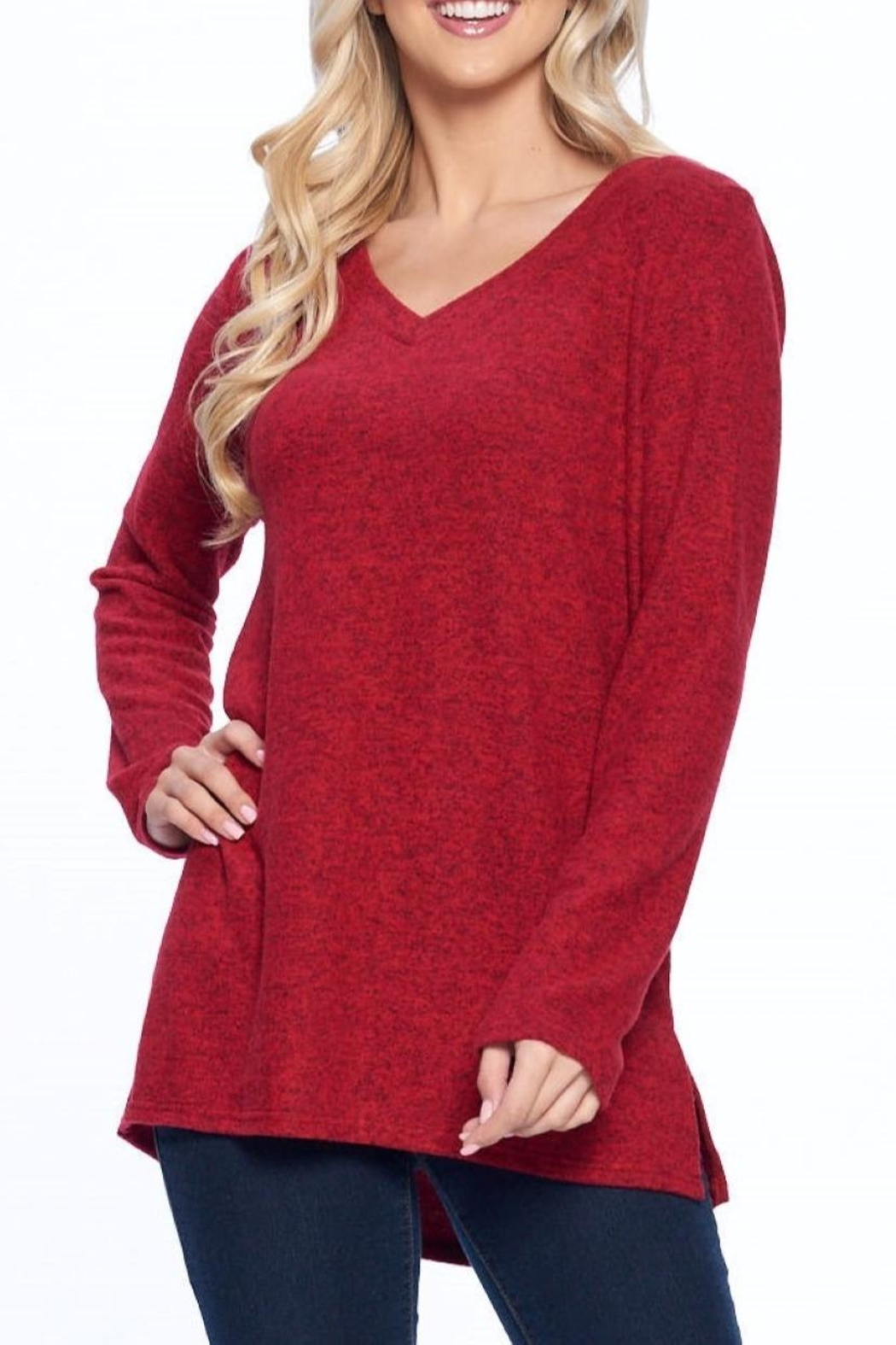 Aryeh Red V-Neck Knit Top - Front Full Image