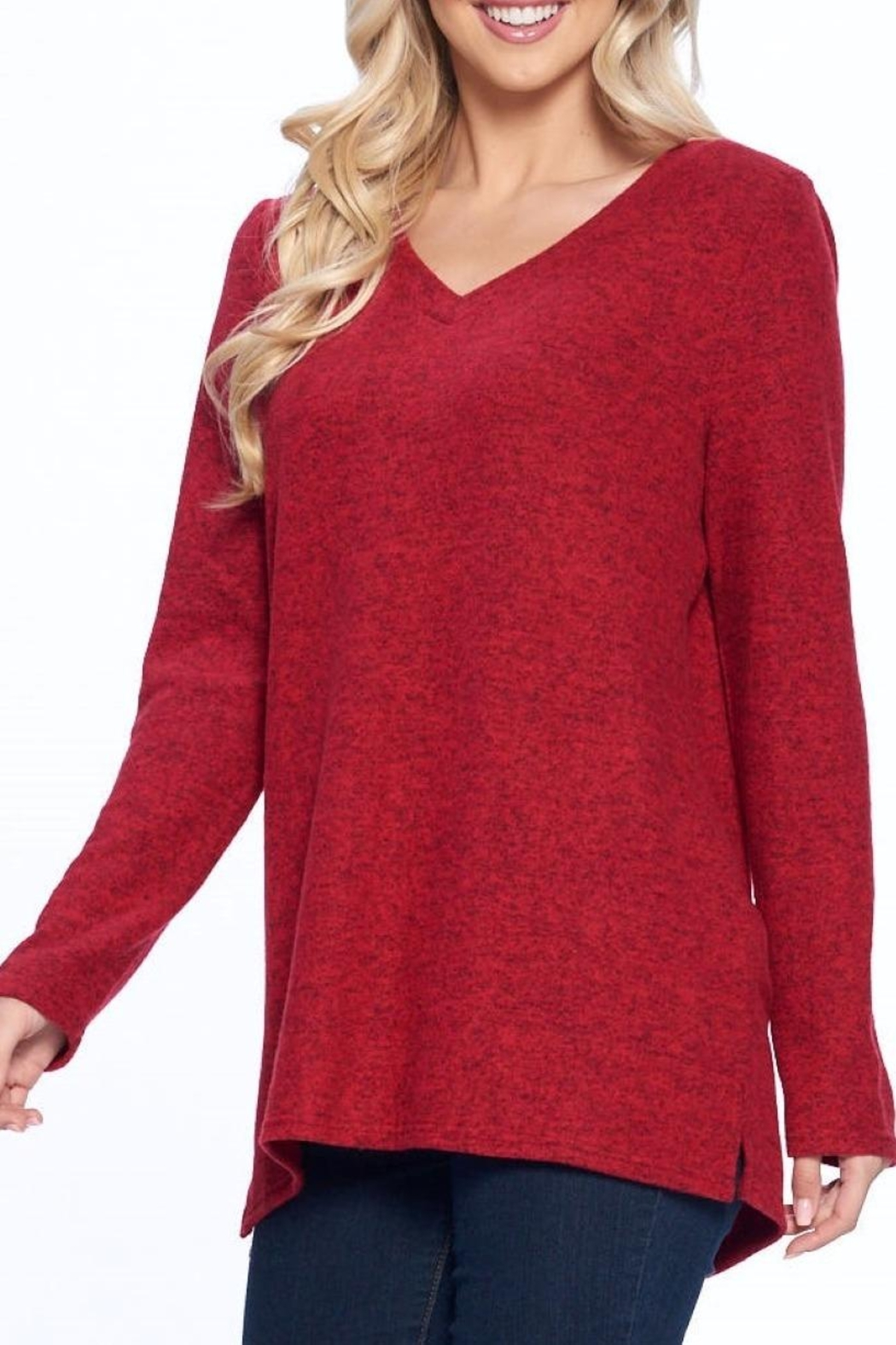 Aryeh Red V-Neck Knit Top - Side Cropped Image