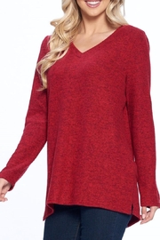 Aryeh Red V-Neck Knit Top - Side cropped