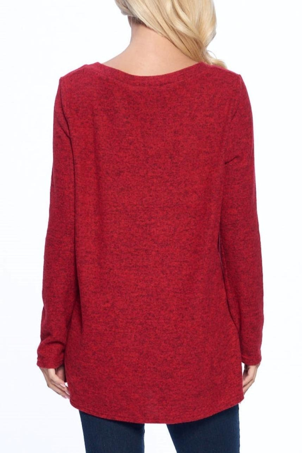 Aryeh Red V-Neck Knit Top - Back Cropped Image