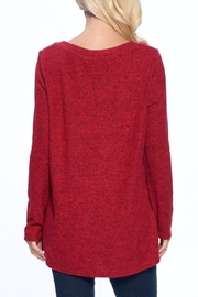 Aryeh Red V-Neck Knit Top - Back cropped