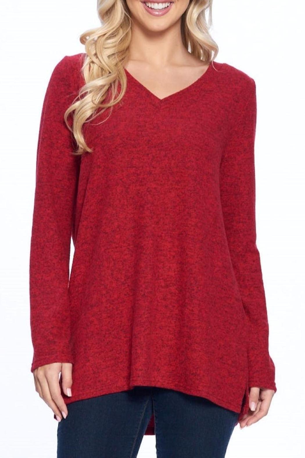 Aryeh Red V-Neck Knit Top - Main Image