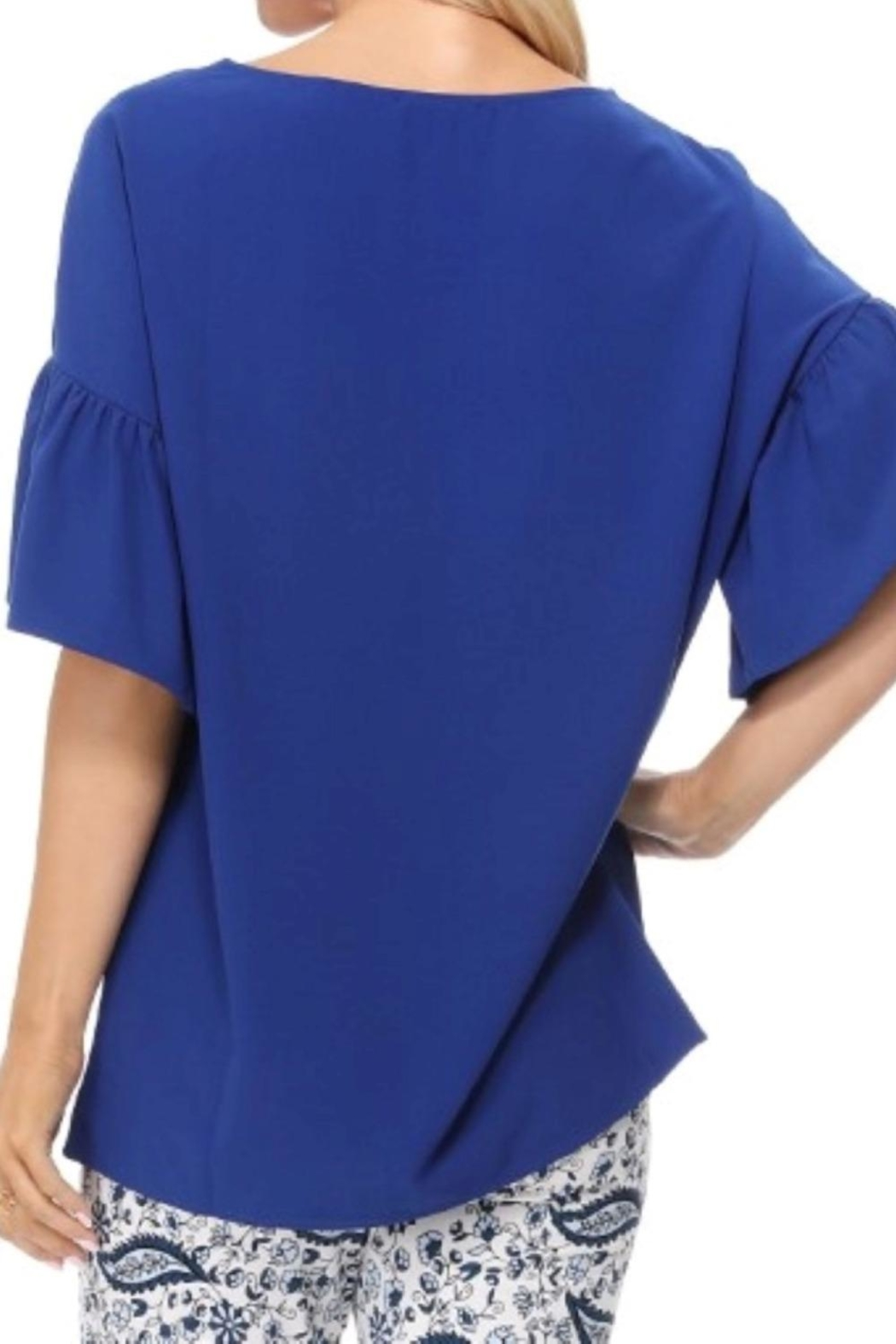 Aryeh Royal Bell Sleeve Top - Side Cropped Image