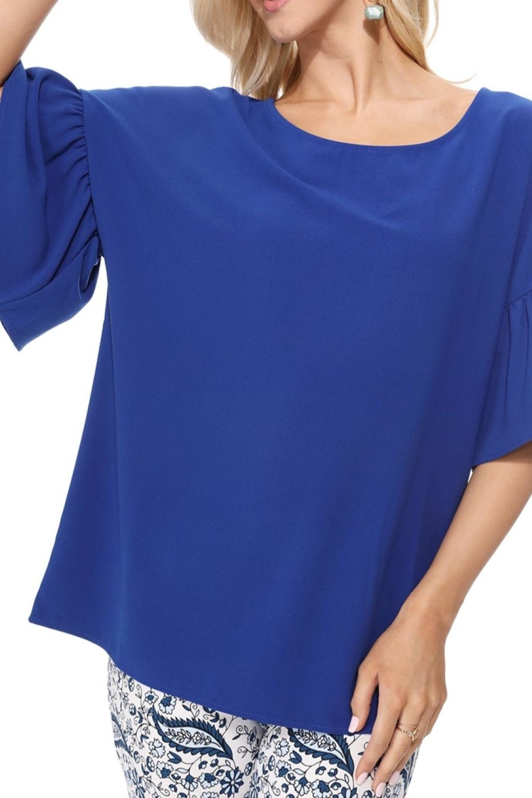 Aryeh Royal Bell Sleeve Top - Front Full Image