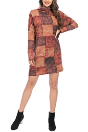 Aryeh Rust Turtle Neck Plaid Dress - Product Mini Image