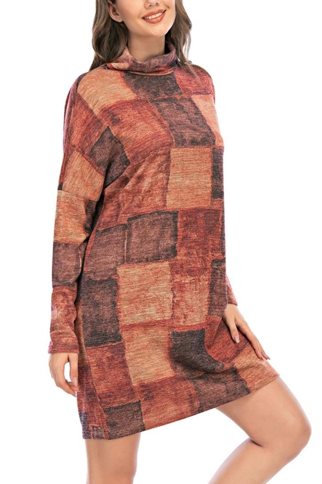 Aryeh Rust Turtle Neck Plaid Dress - Front Full Image