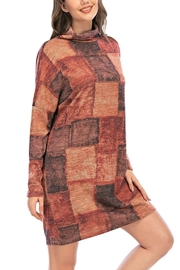 Aryeh Rust Turtle Neck Plaid Dress - Front full body