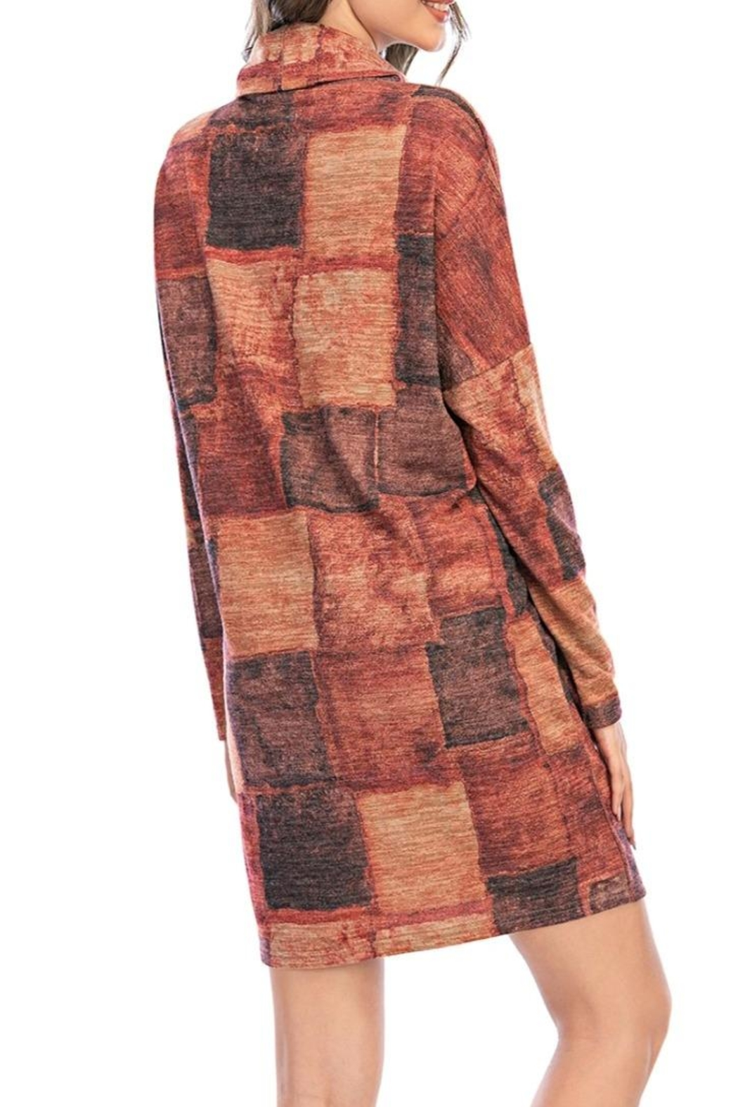 Aryeh Rust Turtle Neck Plaid Dress - Back Cropped Image