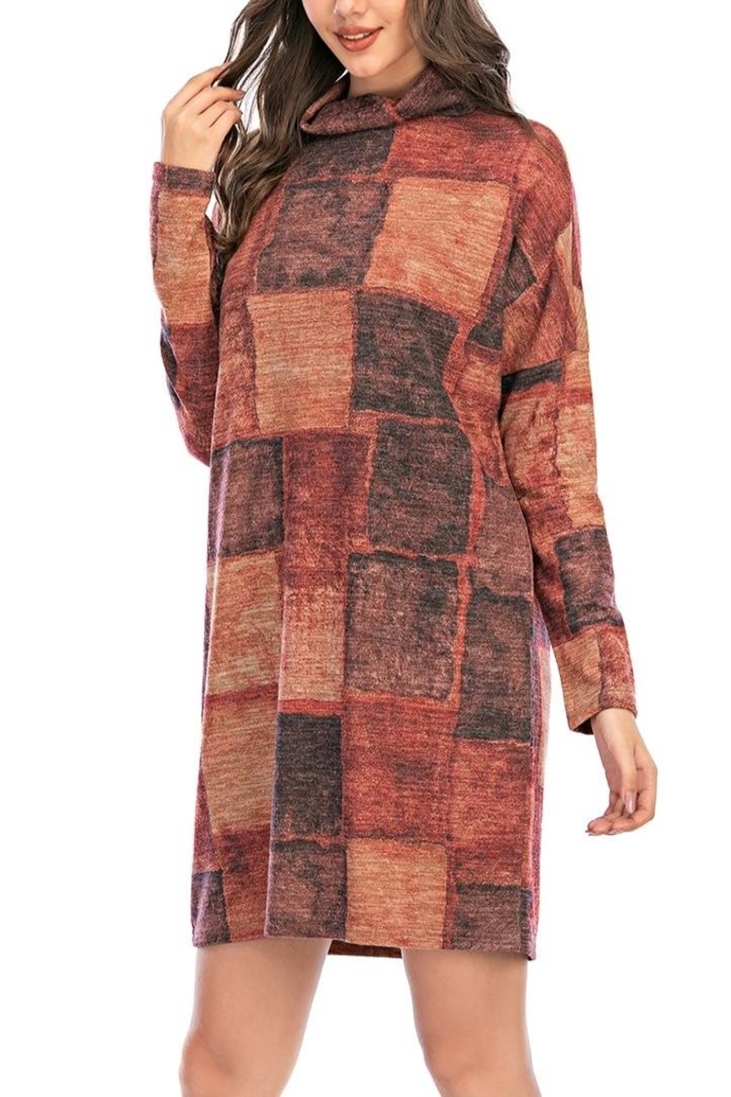 Aryeh Rust Turtle Neck Plaid Dress - Side Cropped Image