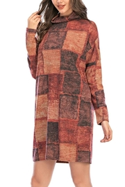 Aryeh Rust Turtle Neck Plaid Dress - Side cropped