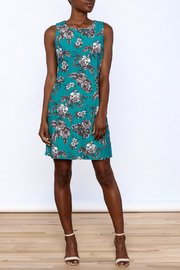 Aryeh Teal Floral Sheath Dress - Front full body