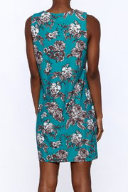 Aryeh Teal Floral Sheath Dress - Back cropped