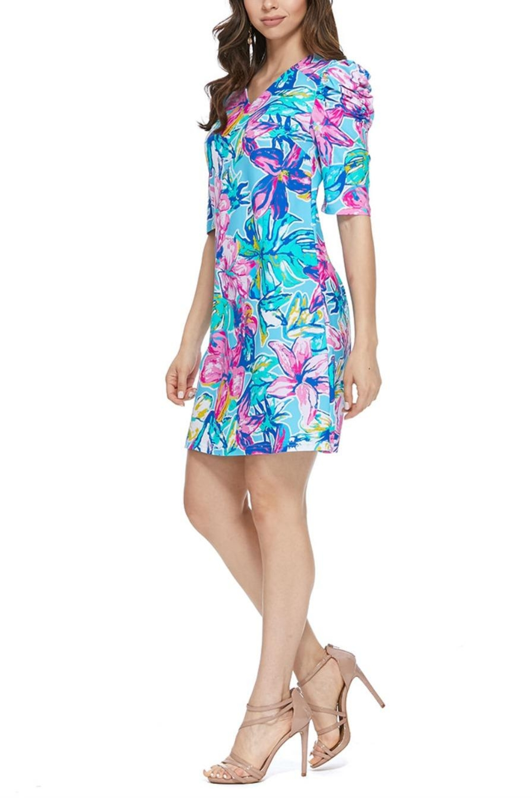 Aryeh Sky Puffy Shoulder Floral Dress - Side Cropped Image