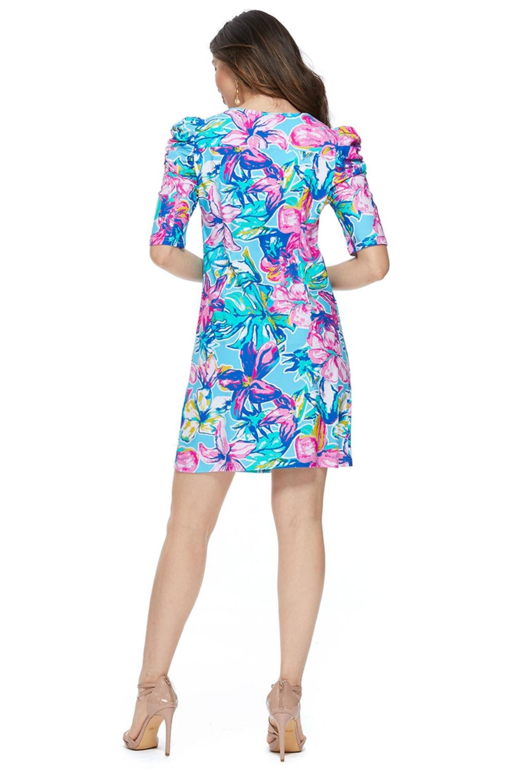 Aryeh Sky Puffy Shoulder Floral Dress - Back Cropped Image