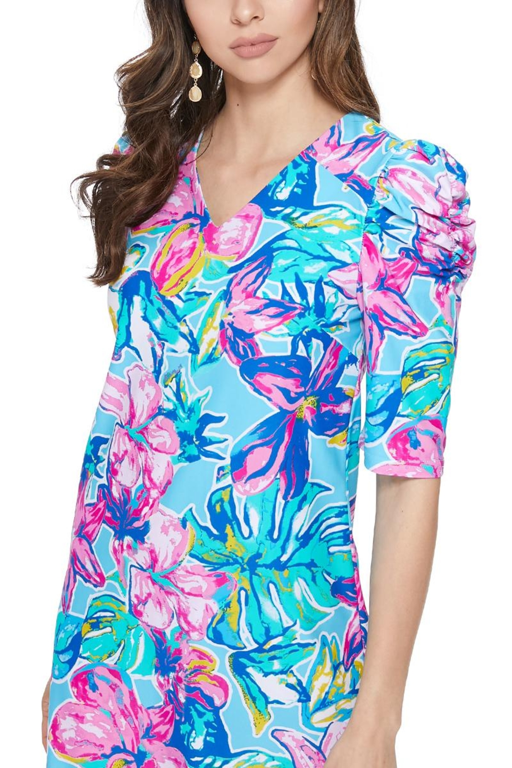 Aryeh Sky Puffy Shoulder Floral Dress - Front Full Image