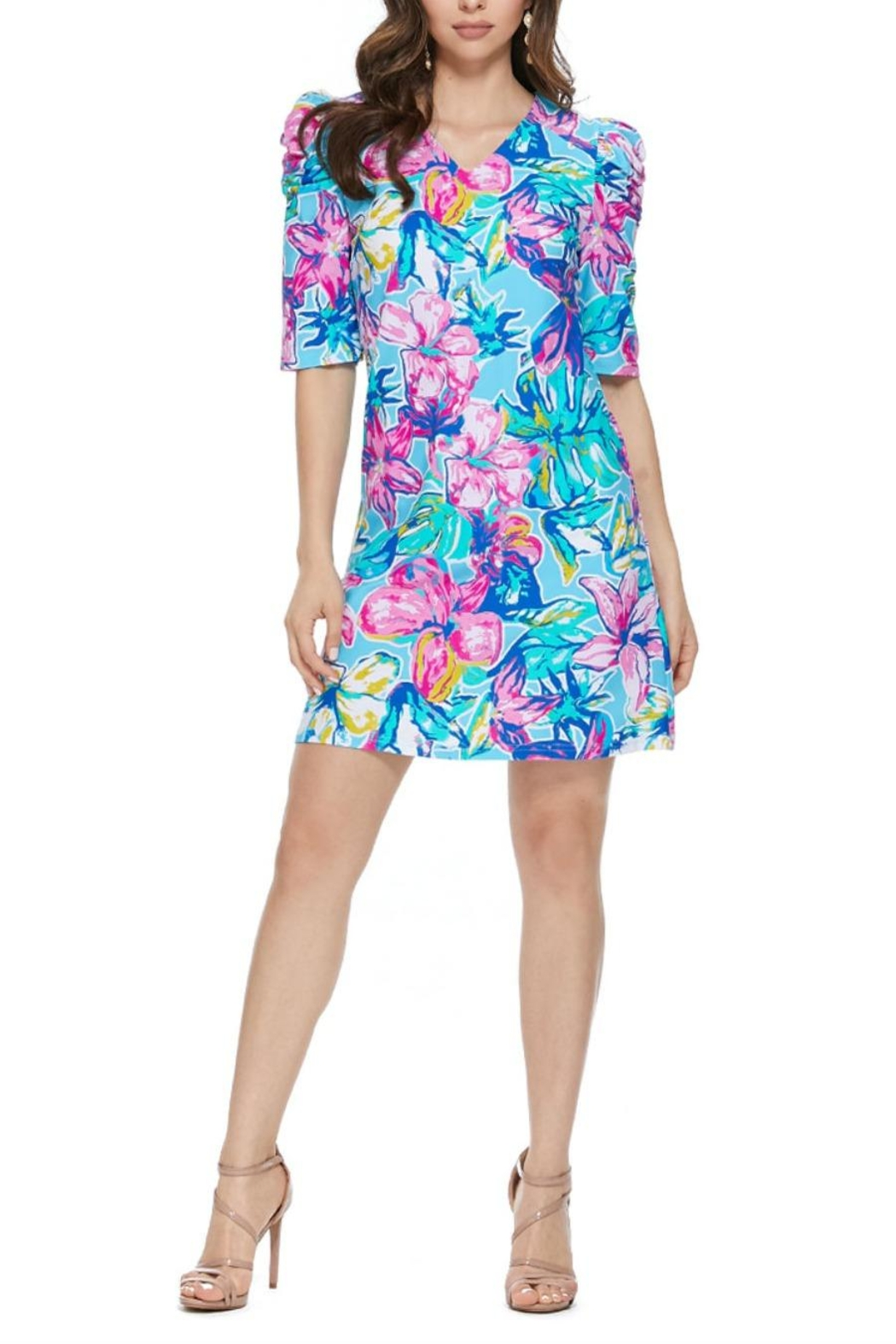 Aryeh Sky Puffy Shoulder Floral Dress - Main Image