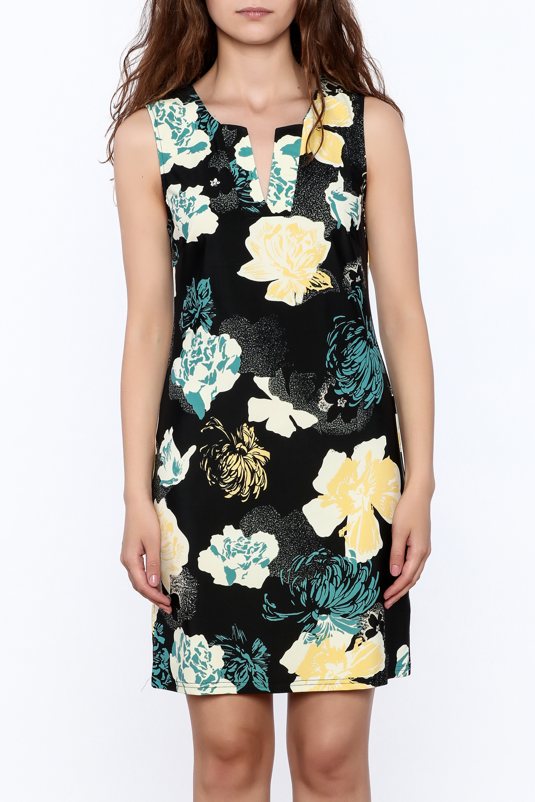 Aryeh Black Floral Sheath Dress - Side Cropped Image