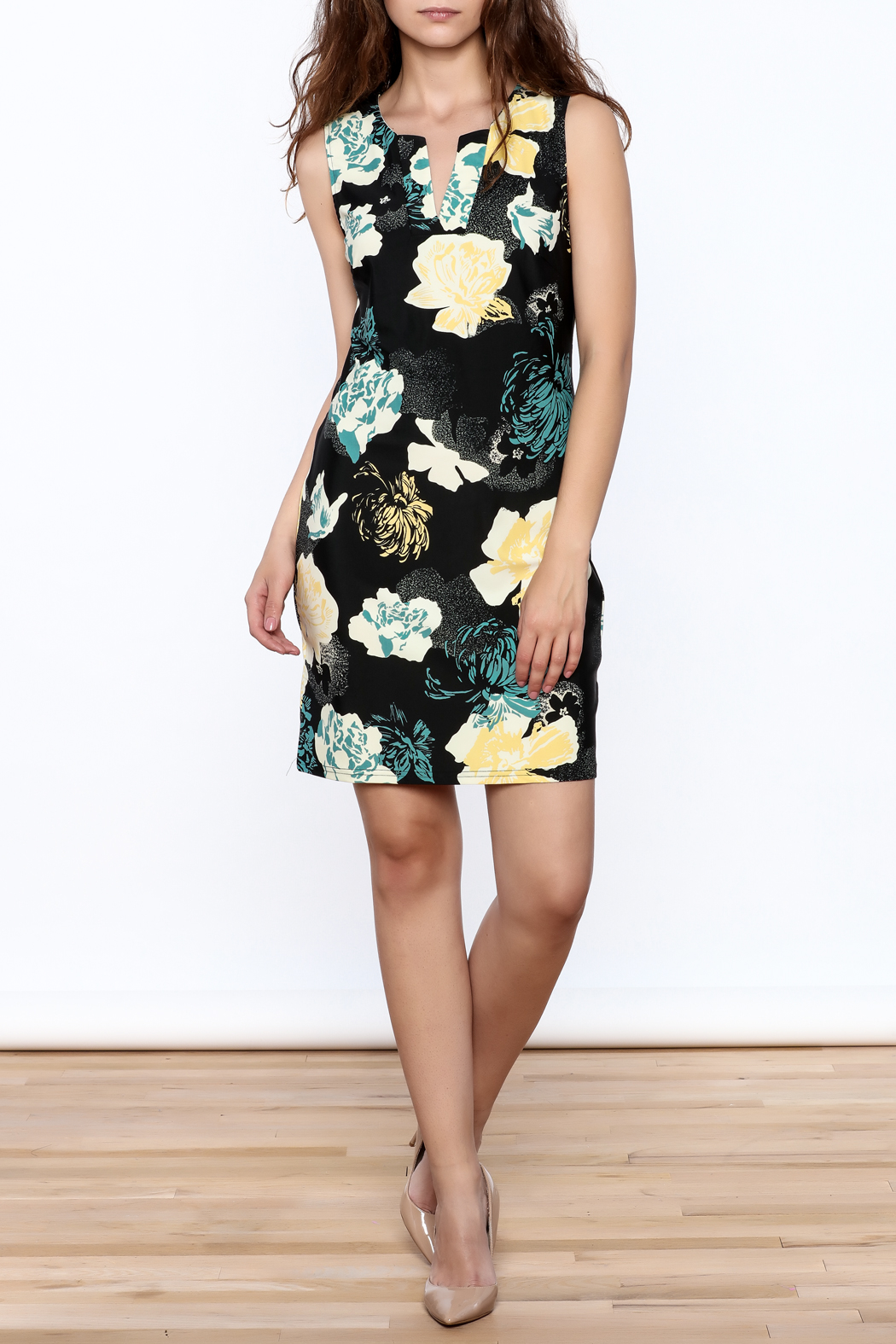 Aryeh Black Floral Sheath Dress - Front Full Image